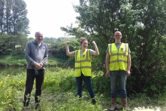 Three Myplace participants posing after a balsam bashing session