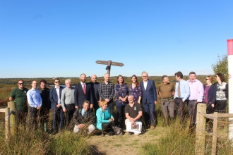 Andy Burnham and the Lancashire Wildlife Trust team on Little Woolden Moss