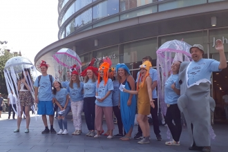 The Living Seas North West team ready to perform in a marine flash mob in Liverpool