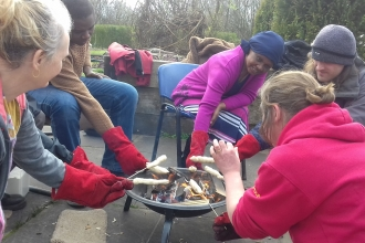 Campfire cooking in Avenham Park