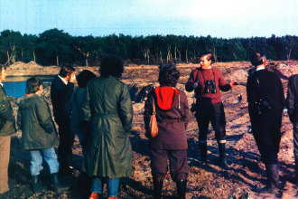 Paul Pearson and a Trust group at Mere Sands Wood in 1977