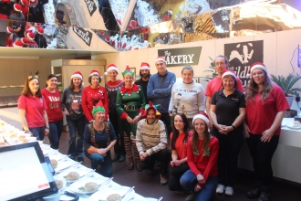 Wildlife Trust staff getting ready to serve volunteer Christmas lunch
