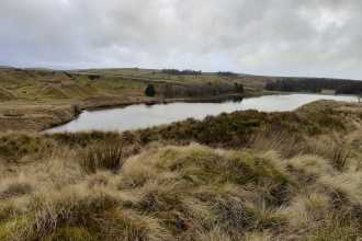 Upper Coldwell Reservoir in Nelson photographed during winter