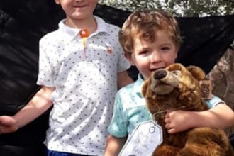 Two children on a Bear Hunt event run by Lancashire Wildlife Trust