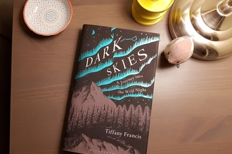 The book Dark Skies on a bedside table