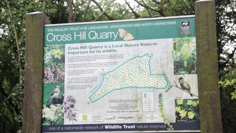 The visitor's board at Cross Hill Quarry nature reserve
