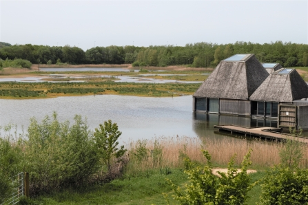 Brockholes' floating Visitor Village during spring