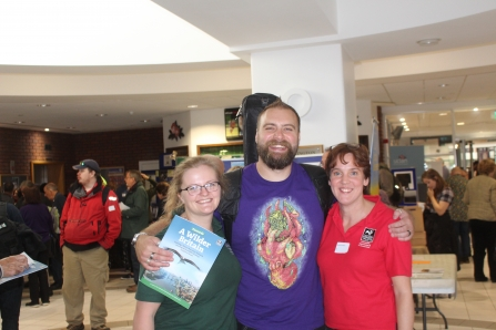 Tom 'The Blowfish' Hird with Volunteer Co-ordinators Catherine and Laura