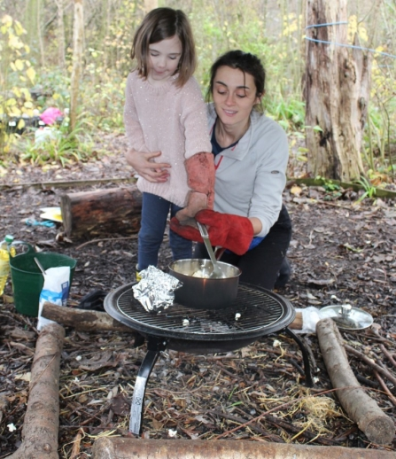 forest school fire popcorn