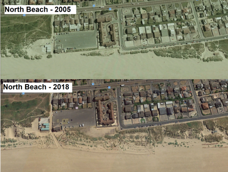 Google Earth images showing the growth of the sand dunes at St Annes