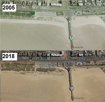 The growth of the sand dunes at St Anne's pier