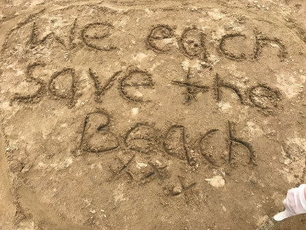 Sand art created by children at Beach School on the Lancashire coast